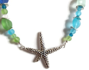 Beach Necklace. Starfish. Summer. Sea Glass. Tumbled Glass. BE31