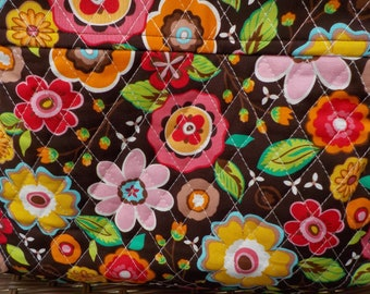 Medium Brown Floral Quilted Purse
