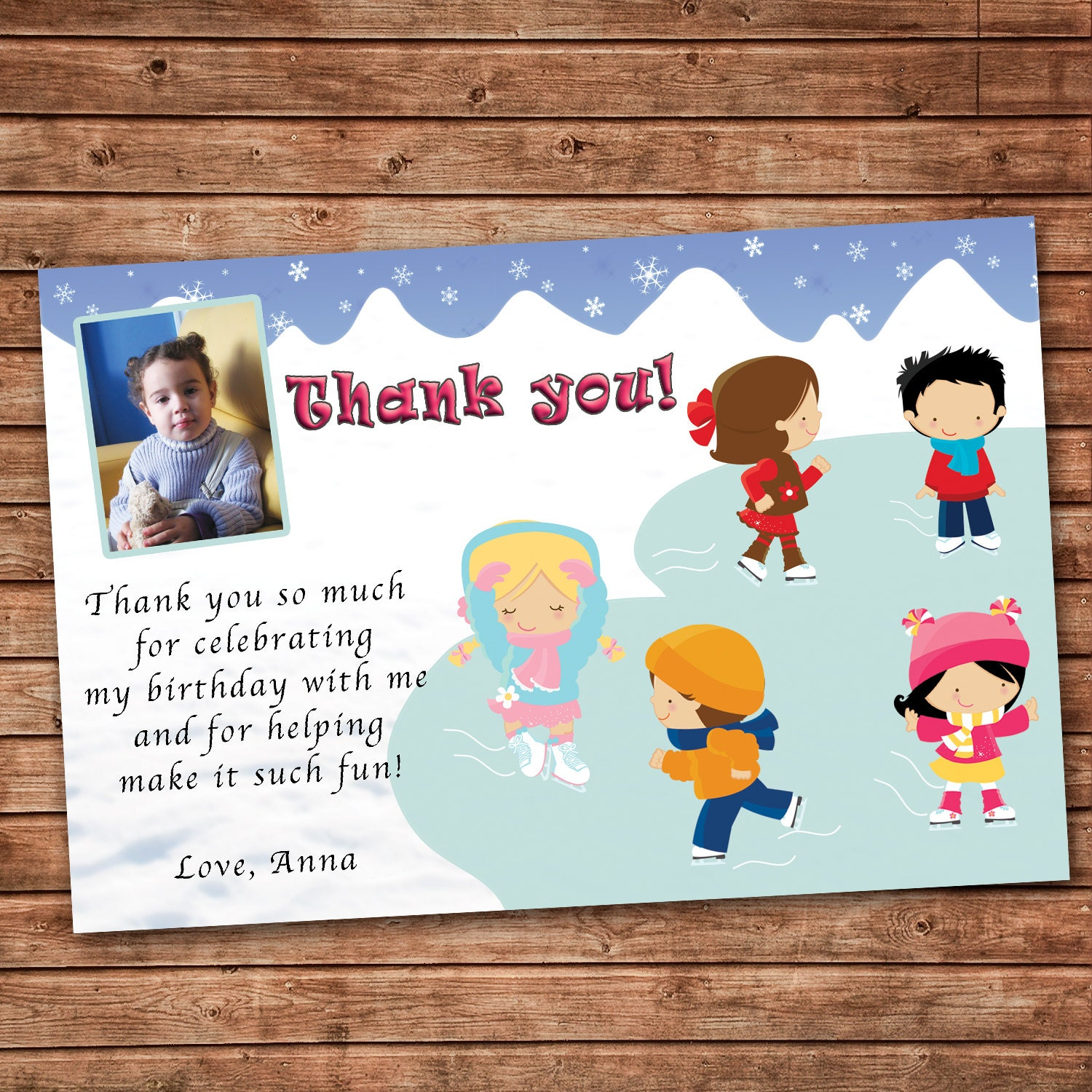Personalized Any Wording Thank you Card Ice Skating Winter