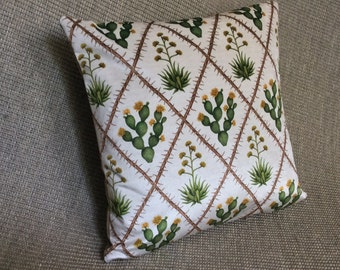 Velvet Desert Pillow:  Prickly Pear Cactus with Yellow Flowers and Century Plant