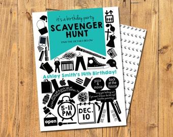 SCAVENGER HUNT INVITATION | Scavenger Hunt Birthday | Shopping Mall Scavenger Hunt