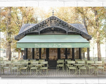 Paris Photography on Canvas - Pavillon de la Fontaine Luxembourg Gardens, Gallery Wrapped Canvas, Home Decor, Large Wall Art