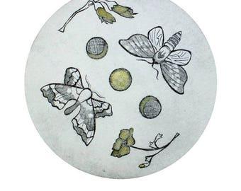 Moon Dance - a digital print of an original drypoint etching