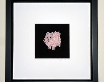 Pink or White POMERANIAN Beaded Mini Pet Portrait- Framed Dog Art- 8x8 shadowbox (Made to Order) (a)