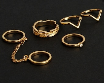 Set of 6 gold midi rings, above knuckle rings, stacking rings, midi mid rings, finger rings, boho rings