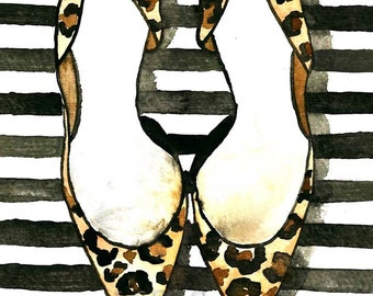 Fashion Illustration Watercolor Painting Print 'Stripes and Leopard' -- Home/office decor and wall art, Fashion prints Leopard shoes