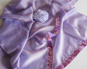 Bridal purple chiffon evening stole
