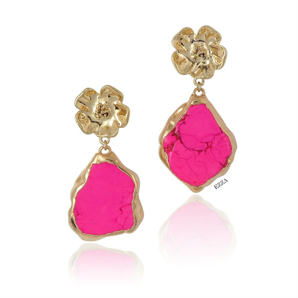 fluorescent earrings drop rose neon pink