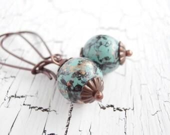 Aqua Beaded Earrings - Long Vintage Verdigris Fall Fashion Earrings
