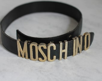 Moschino Redwall Belt Black Gold Vintage Made in Italy