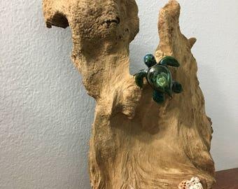Lampwork Glass Sea Turtle on Driftwood 11-23-1-17