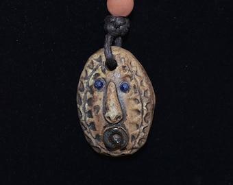 Art Deco clay face pendant