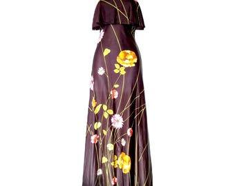 Vintage Maxi Dress 60s Hippy Brown Floral Hippie Long Sundress Size XS