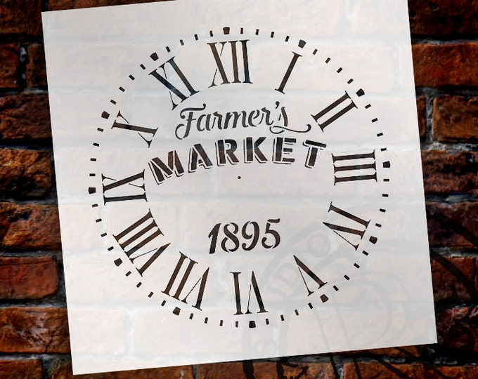 Featured listing image: Round Clock Stencil  Roman Numerals - Farmers Market Letters - DIY Painting Vintage Rustic Farmhouse Country Home Decor Walls - SELECT SIZE