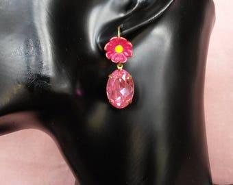 """""""The Rubellite pink flower"""" earrings"""