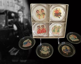 Complete Set of Eight Vintage Glass Coasters with International Dancer Decals, with Original Box