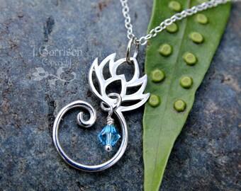 Zen Lotus Blossom necklace - sterling silver flower & aquamarine Swarovski crystal - yoga - tranquility - Free USA Shipping
