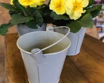 Three small Vintage style metal buckets, ideal wedding table decoration for favours, gifts and flower arranging