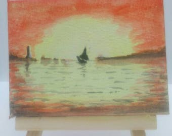 Sailing into sunset watercolour painting on mini 9x7cm canvas with easel.