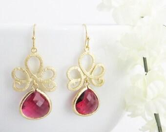 Pink Flower Dangle Earrings in Gold, Flower Drop Earrings, Valentines Day, Bridesmaid Earrings, Bridesmaid Jewelry, Wedding Earrings