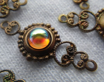 Topaz AB Glass Fancy Brass Filigree Drops 6 Pcs