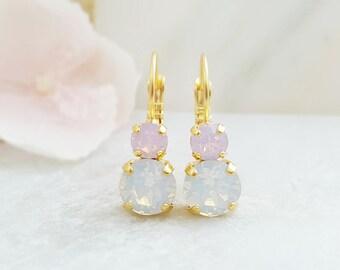 Pink Opal Earrings ~ White Opal Drop Earrings ~ Swarovski Crystal Earrings ~ October Birthstone Jewelry for Her ~ Small Opal Earrings E3412