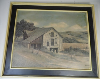 James Peter Cost Litho Farmhouse Nature Green Gray  1970