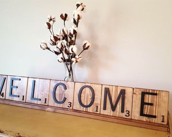 3D Wooden Handmade Text Tiles with Display Tray - WELCOME- Custom Words Available