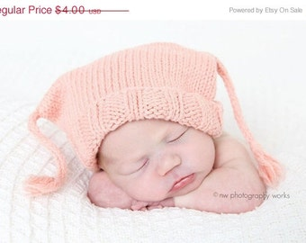 Sale - Baby Hat Pattern Knitting -- Little Boy Blue Box Hat with I-cord tassles -- Digital Download PDF