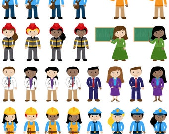 People Clipart Clip Art, Includes Character Career Teacher Classroom Clipart Clip Art Vectors - Commercial and Personal Use