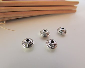 10 Pearl 7 x 4 mm antiqued silver - 1 mm hole - 273.34