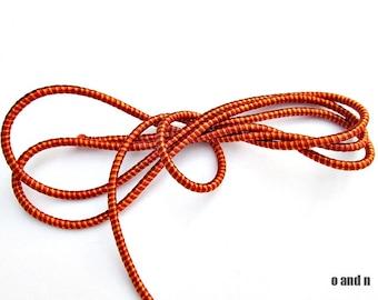 Striped wrapped silk cord, two tone orange satin cord, 2 meters