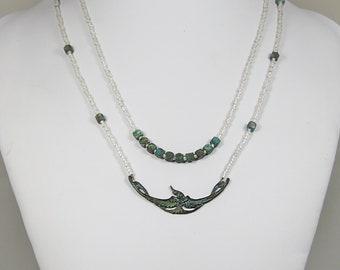 Verdigris Double Strand Choker with Art Nouveau Bird and  Silvery White Toho Beads