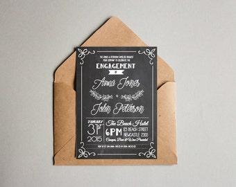 Chalk Board & White Engagement Invitation