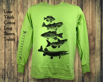Kids Fishing Shirt (fishing) Shirt With Ruler To Measure Fish
