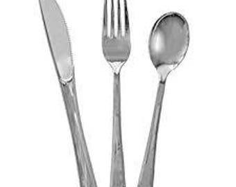 Silver Cutlery 32 Piece Set, Birthday Party Cutlery, Wedding Cutlery, Hen Party Cutlery, BBQ Cutlery, Garden Party Cutlery