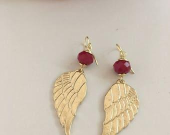 Angel wings earrings. Gold wings. Gold Guardian Angel wing earrings.
