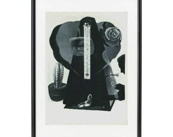"""Dada Handmade Paper Collage """"Tempus Fugit"""""""