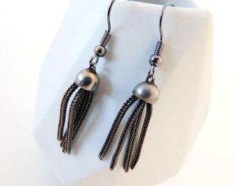 Vintage Jellyfish Charm Earrings -- Industrial-Style Drop Earrings -- Silver Plated Robots -- UK Shop