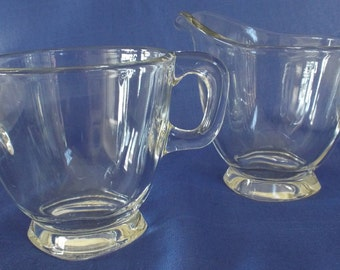 Vintage Heisey Creamer and Sugar Bowl Set Clear Glass