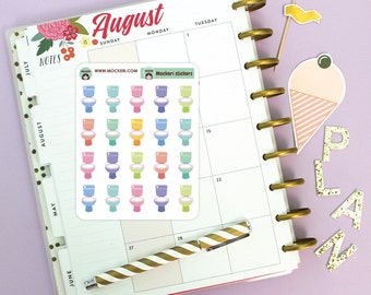 20 Toilets Mini Stickers / Planner Stickers