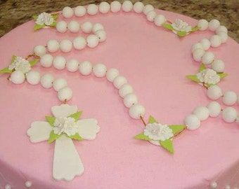 First Communion Cake Topper, Rosary Cake Topper, First Communion Favor, Boy Baptism Cake Topper, Baptism Rosary, First Communion Cake Topper