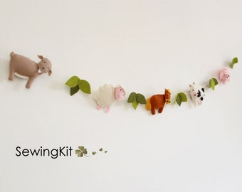 DIY nursery garland animal garland, wool felt garland, sewing kit garland nursery bunting, animal bunting, goat sheep horse cow hog pig