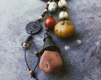 Tribal talisman necklace | found stone, African amber, amulet necklace, tribal jewelry, mixed media, tribal assemblage