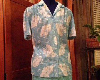 Nice Seventies Blue Leaf Polyester Knit Shirt