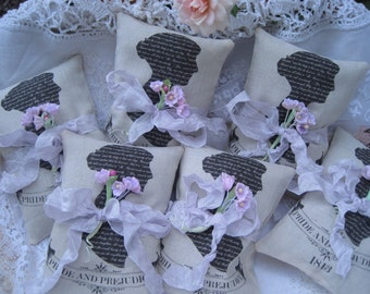 25 Jane Austen Pride and Prejudice lavender sachets, guest favors, wedding, bridal, shower, party event favors, teacher gifts, mother's day
