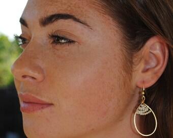 Brass hoop earrings with pearls