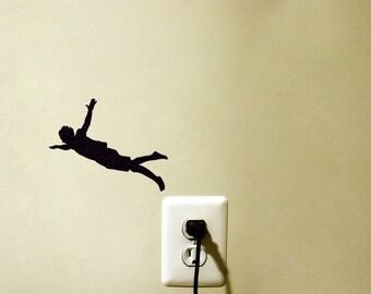 Jumping Man Light Switch Fabric Sticker - Flying Man Wall Decal - High Jump Laptop Sticker - Silhouette  Macbook Decal - Gift For Teen