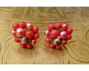 Vintage coral beaded clip on earrings