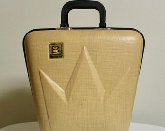 Vintage 1960's Brunswick Crown Black and Yellow/Tan Hard Case Bowling Ball Bag Holds Ball & Shoes